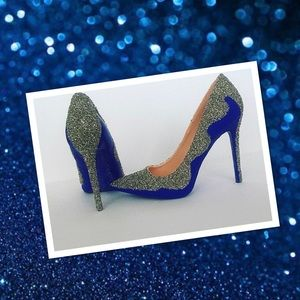 Women's Custom Royal Blue w/Glass Crystals Heels
